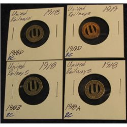 1314. (3) 1918,(1) 1919 United Railways Co. of St. Louis Good For One City Fare Tokens