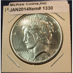 1330. 1925 P Peace Silver Dollar. MS 63.