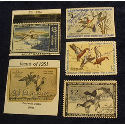 1336. 1951, 1954, 1967, 1971, & 1974 Used Federal Migratory Waterfowl Stamps.