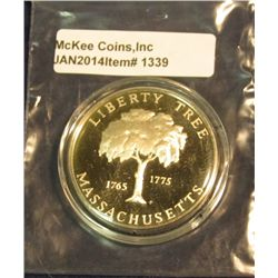 "1339. Encased 1765-1775 Liberty Tree Massachusetts Sterling Silver Proof Medal with Pilgrim ""1620"" o"