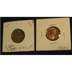 1344. 1969 S BU & 1970 S Small Date BU Lincoln Cents.