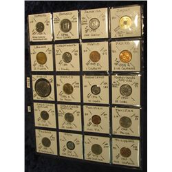 1401. (20) Uncirculated & BU World Coins in a plastic page catalogued with KM numbers and etc. from