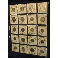 1402. (20) Uncirculated & BU World Coins in a plastic page catalogued with KM numbers and etc. from
