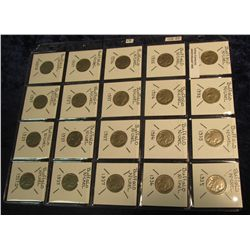 """1404. (20) Buffalo Nickels in 2"""" x 2""""s & plastic page. All 1935, 36, 37, & 37 D. Red book value $32."""
