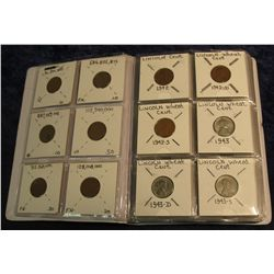 1408. Complete Set of Lincoln Wheat Cents 1940 thru 1958 D all three mints plus 6 different type Lin