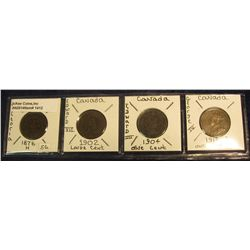 1412. 1876H Canada Large Cent F-12; 1902 Canada Large Cent VF; 1904 Canada Large Cent VG; & 1913 Can