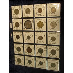 1419. (20) World Coins in a plastic page catalogued with KM numbers and etc. from South Korea, Malay