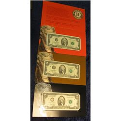 1457. (3) Different Series 2003 $2 Federal Reserve Note Star Replacement. St. Louis, Mo., Philadelph