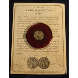 1465. 13th Century Kandy Kings Coin minted in Ceylon. Complete with Certificate of Authenticity.