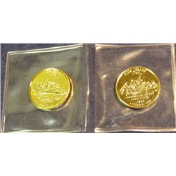1493. (2) 1999 D New Jersey Statehood Quarters 24K Gold-plated.