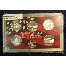 1555. 2005 S Silver Proof Statehood Quarter Set. Original as issued.