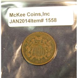 1558. 1866 U.S. Two Cent Piece. G-4.