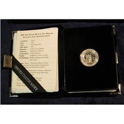 "1580. 1997 ""W"" Ten Dollar American Eagle Proof One-Tenth Ounce Platinum Bullion Coin in original Box"