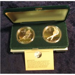 1584. Pair of 1985 dated 1988 Calgary Olympics Proof $20 Canada One Ounce Silver Coins in original R