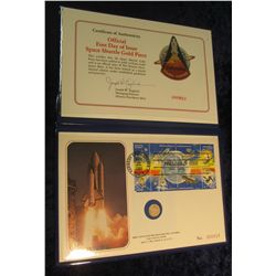 1590. Official First Day of Issue Space Shuttle Gold Piece in original First Day of Issue Postmarked
