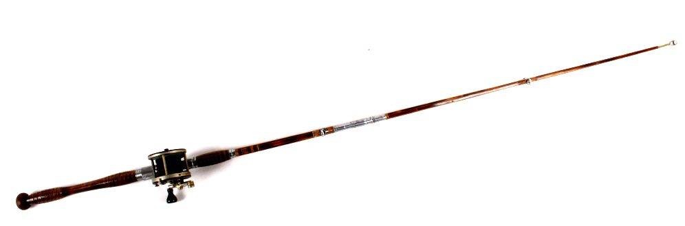 Vintage montague stone harbour bamboo fishing rod for Old fishing rods