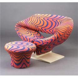PIERRE PAULIN For ARTIFORT Ribbon Chair And Ottoman In Original Op Art Jack  Lenor Larsen Fabric I.