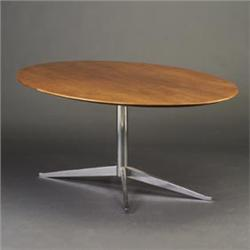 FLORENCE KNOLL For KNOLL Oval Conference Table With Walnutveneer - Pedestal conference table