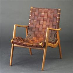 early knoll armchair attributed to jens risom with leather webbing rh icollector com