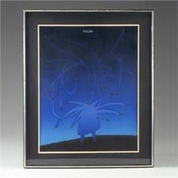 FOLON serigraph poster with mylar overlay, black figure and shaded blue background, framed (poste...
