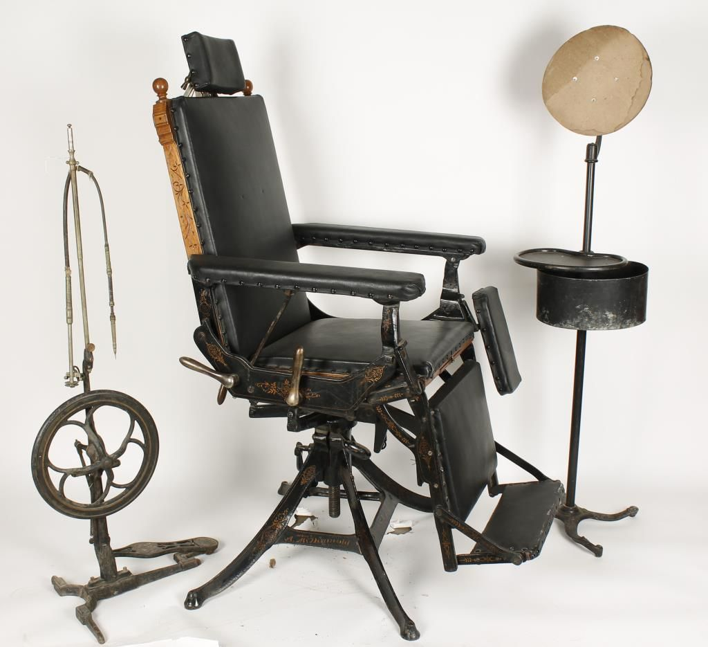 ... Image 2 : Antique Dual Purpose Dental and Gynecology Chair ... - Antique Dual Purpose Dental And Gynecology Chair