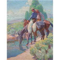Watering the Horses, 1913 by Dunton, William H.