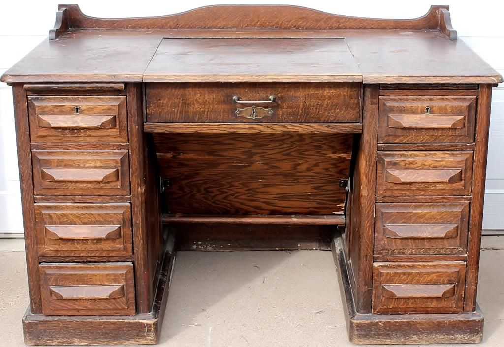 Antique typewriter desk in solid oak. Loading zoom - Antique Typewriter Desk In Solid Oak