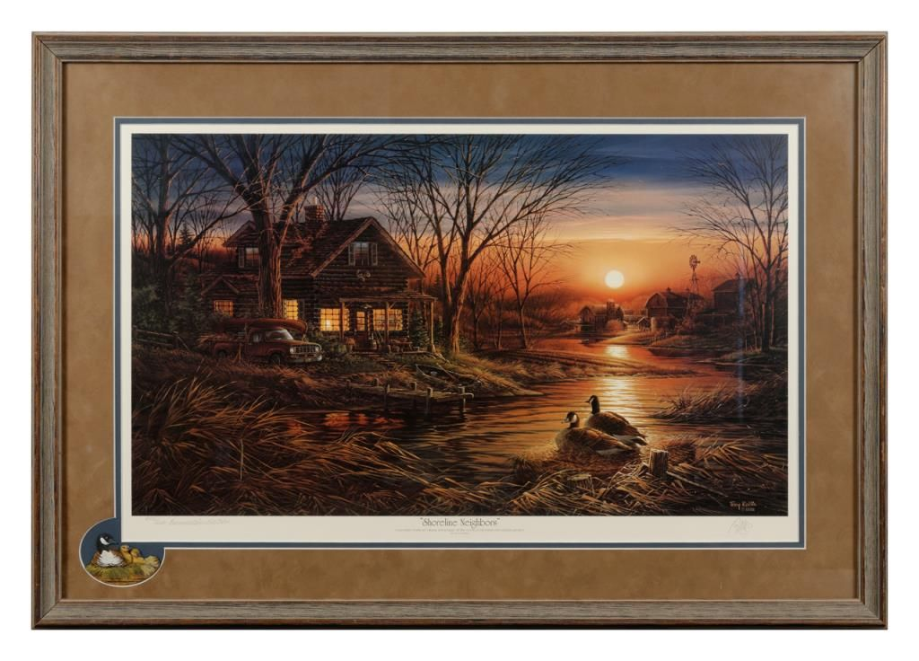 2 nicely framed prints by Terry Redlin hand signed and numbered with ...