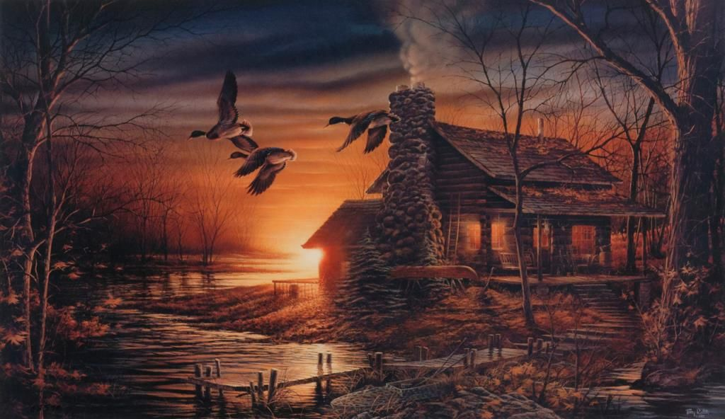 image 2 print entitled golden retreat artwork by terry redlin with nra medallion