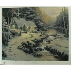 Thomas Kinkade Signed  Evening Glow  Christmas Cottage 20x24 Classics Collection Lithograph (PA LOA)