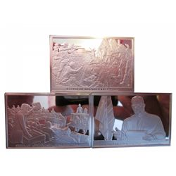 3 Sterling Silver bar depicting American Scene for the Bicentennial. Each weight between 49 and 50 g