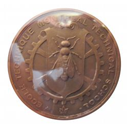 Medal; Montreal Technical School Attributed to O'Reilly P. 1917. Bronze, apx 2 inches, new.
