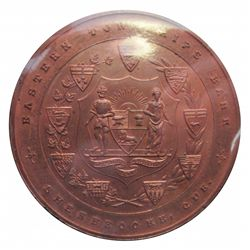 Medal; Eastern Township Bank, Sherbrooke, QUE., Copper, apx 2,5 inches, AU.