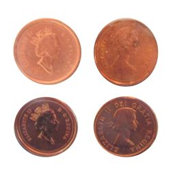 Cent 1962, ICCS MS-65 Red, 1983, CCCS MS-64 Red Near Beads, 1997, CCCS SP-66 Red, 2002, ICCS MS-64 R