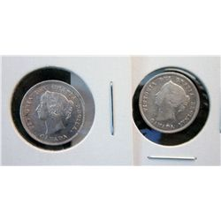 5 cents 1871 EF-40 repunched 18 and 5 cents 1887 VG-8, Lot of 2 coins.