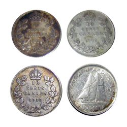 10 cents 1934 in F-12, 1935 in F-12, 1936 in F-12, 1942 in AU-50. Lot of 4 coins.