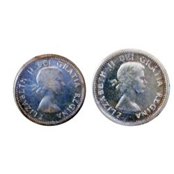 10 cents 1955 in ICCS PL-65 & 1956 in ICCS PL-65; Heavy Cameo. Lot of 2 coins.