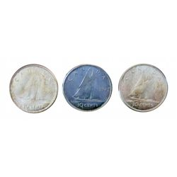 10 cents 1959 in MS-63, 1961 in MS-64 and 1962 in MS-65, Lot of 3 coins.