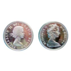 10 cents 1964 CCCS MS-64 Heavy Cameo & 1965 CCCS MS-65 Cameo. Lot of 2 coins.