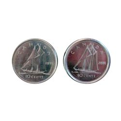 10 cents 1971 in MS-63 and 2006 Logo in MS-64 both coins are Struck Through. Lot of 2 coins.