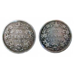 25 cents 1874H Fine & 1891 G+. Lot of 2 coins.