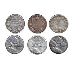 25 cents 1918 VG-8, 1919 F-15, 1936 VG-8 Cleaned, 1940 AU-50, 1946 VF-20 & 1950 EF-40, Lot of 6 coin