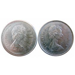 25 cents 1973 Struck through x 2 in EF-40. Both coins have most beads missing on obverse due to bein