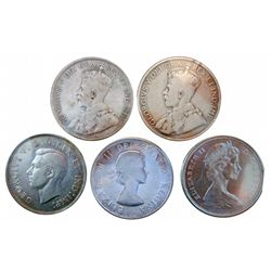 50 cents 1912 VG-8, 1916 VG-10,1943 VF-20, 1960 EF-40 & 1966 MS-60. Lot of 5 coins.