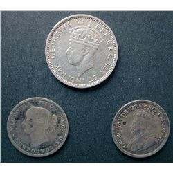 Newfoundland 5 cents 1870 G-4, 1917C EF-40 and 10 cents 1938 VF-20. Lot of 3 coins.
