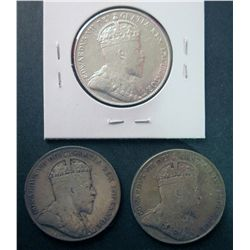 Newfoundland 50 cents 1904H in VF-30; Cleaned, 1908 in VF-30 & 1909 in F-15. Lot of 3 coins.