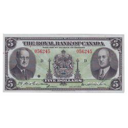 Royal Bank of Canada $5,00 1943 Charlton # 630-20-02 in VF-35, crisp and clean with vibrant colors.