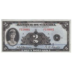 Bank of Canada; 2 dollars 1935 BC-4 Osborne Towers F134001 French Series PMG AU-53.
