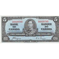 Bank of Canada; 5 dollars 1937 BC-23c Coyne Towers C/S6020795 in VF-35, look UNC with 3 light folds.