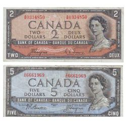Bank of Canada; 2 dollars 1954 Devil's Face BC-30a Coyne Towers A/B0334850, CCCS VF-20 and 5 dollars